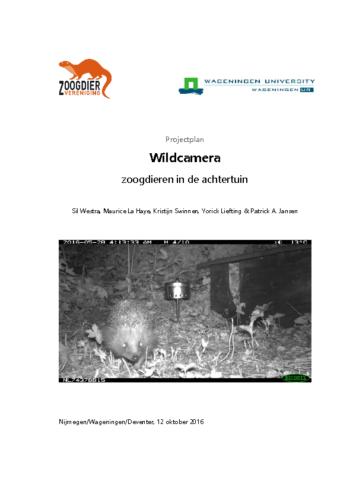 Projectplan Wildcamera zoogdieren in de achtertuin
